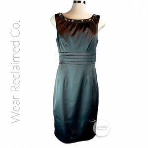 RW&CO Satin Little Black Dress | Rhinestone Neck 6